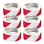 PVC Adhesive Hazard Warning Tape - Pack of 6 - Red & White