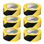 PVC Adhesive Hazard Warning Tape - Pack of 6 - Yellow & Black