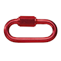 Red plastic-coated steel 6mm chain screw closure