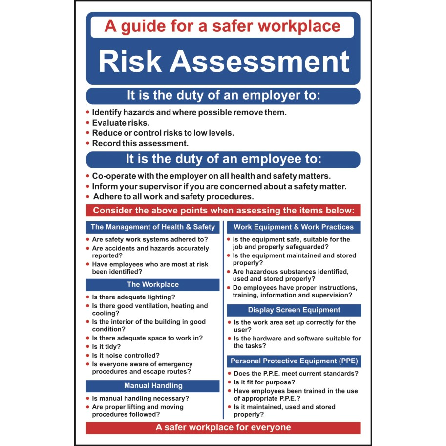risk assessment poster wall chart ese direct. Black Bedroom Furniture Sets. Home Design Ideas