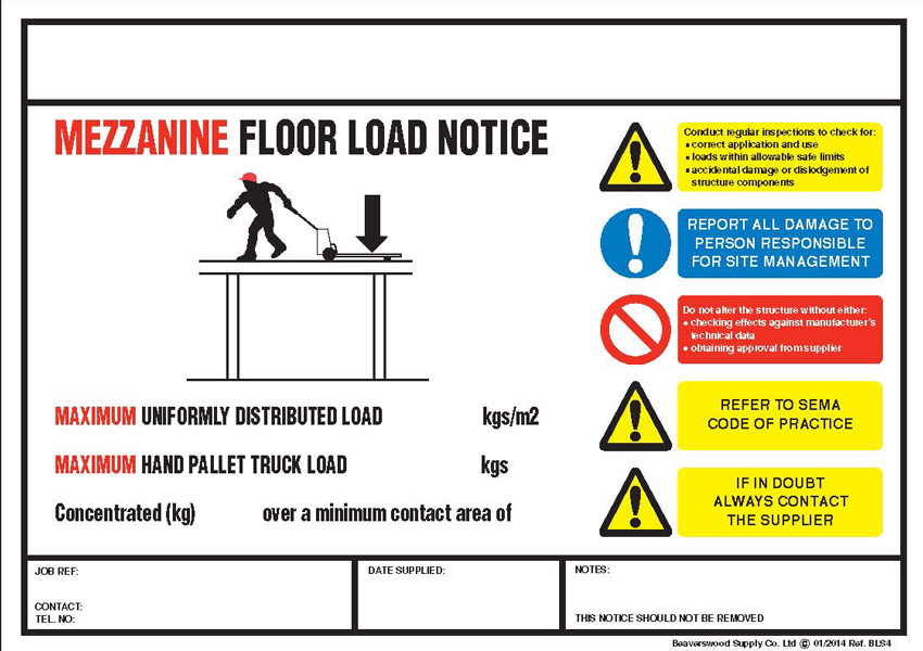 Mezzanine Floor Loading : Rack weight load notice signs for shelving racking