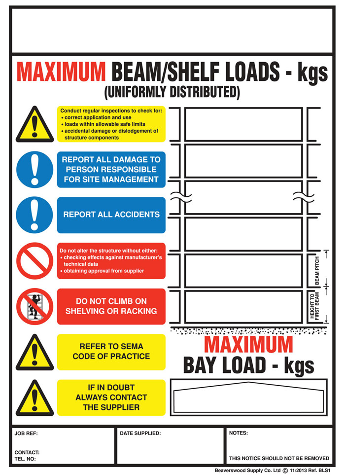 Rack Weight Load Notice Signs For Shelving Racking
