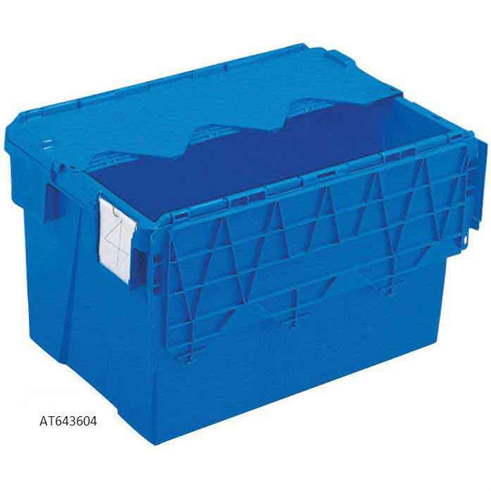 70 Litre Attached Lid Container 600 x 400 x 400 Blue