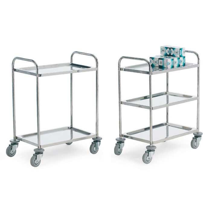304 grade Stainless Tray Trolleys 3 Shelves 100kg cap