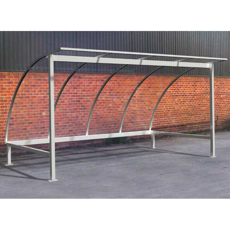 Galvanised Bicycle Shelter 4m Wide with Polycarbonate Roof