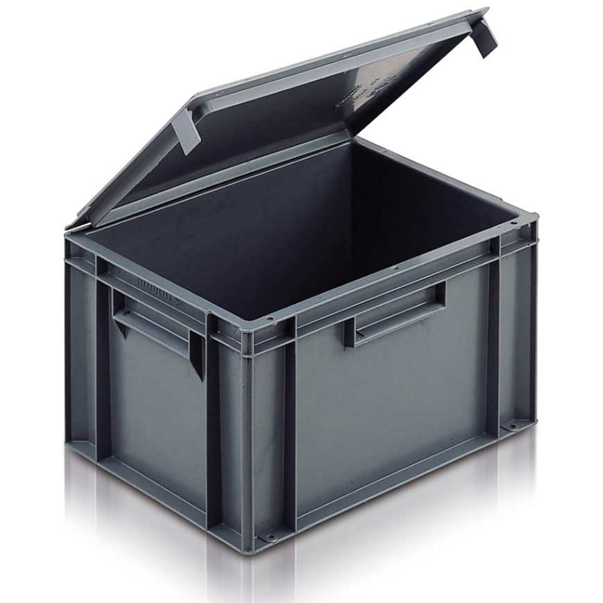 Solid Euro Container with Integral Lid 54 Litre 600 x 400 x 291