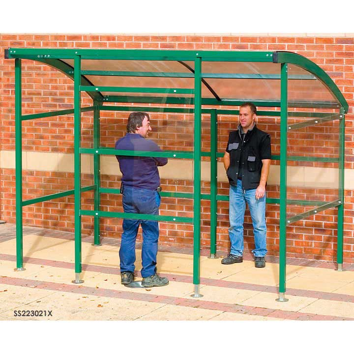 Premier Smoking Shelter All Clear Sides Back 3m wide x 2.1m deep