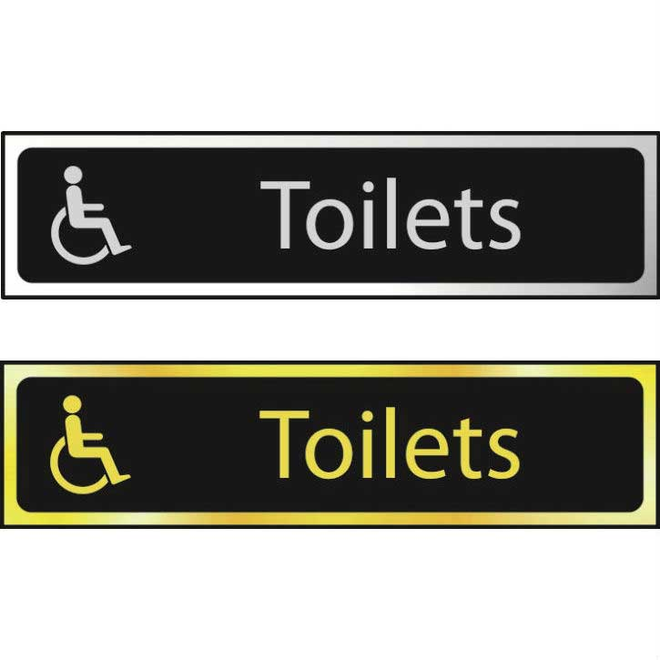 Toilets (Disabled Logo) Sign CHR (200 x 50mm)