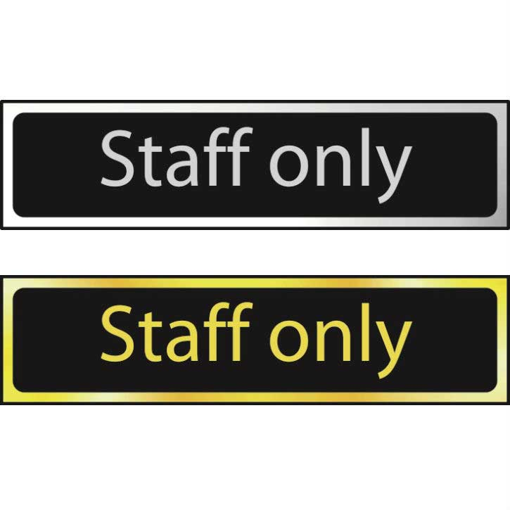 Staff Only Sign CHR (200 x 50mm)