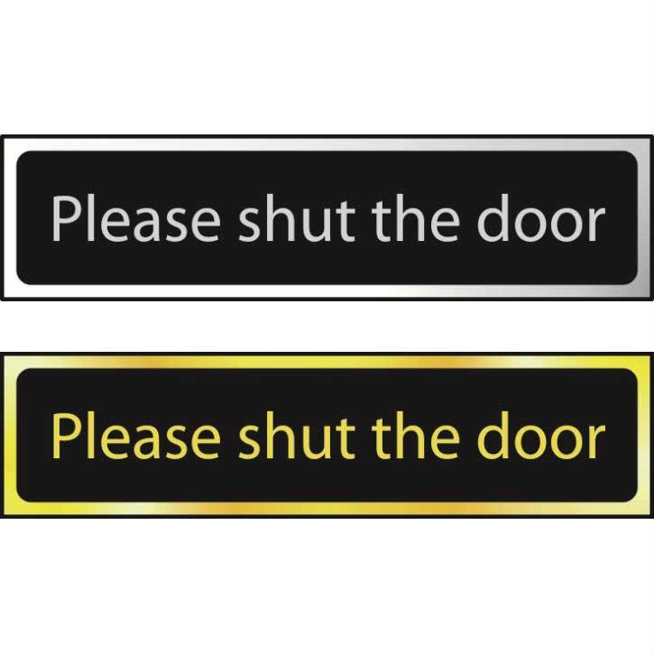 Please Shut The Door Sign POL (200 x 50mm)