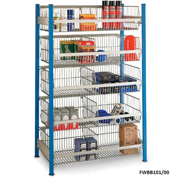 wire basket shelving bays ese direct. Black Bedroom Furniture Sets. Home Design Ideas