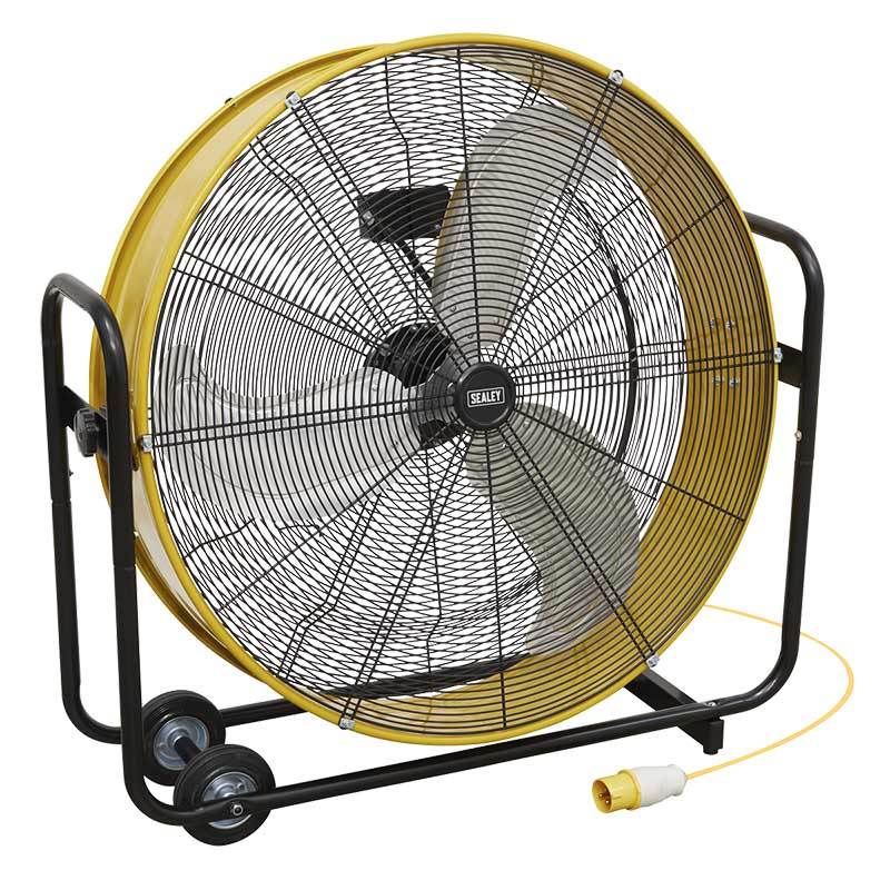 """Sealey 30"""" 110v Yellow Industrial High Velocity Drum Fan"""