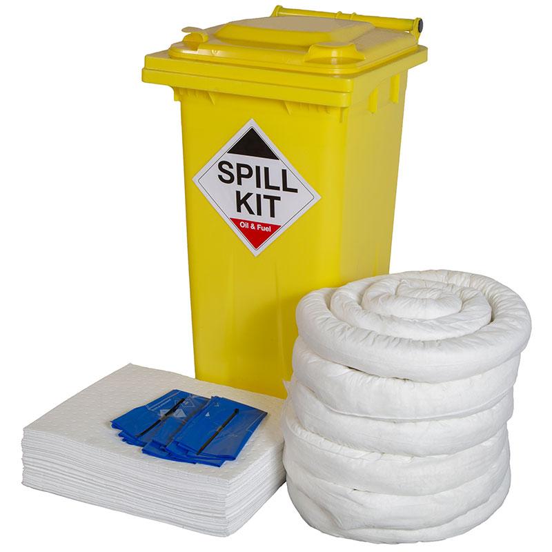 Oil & Fuel Spill Kit in yellow wheelie bin