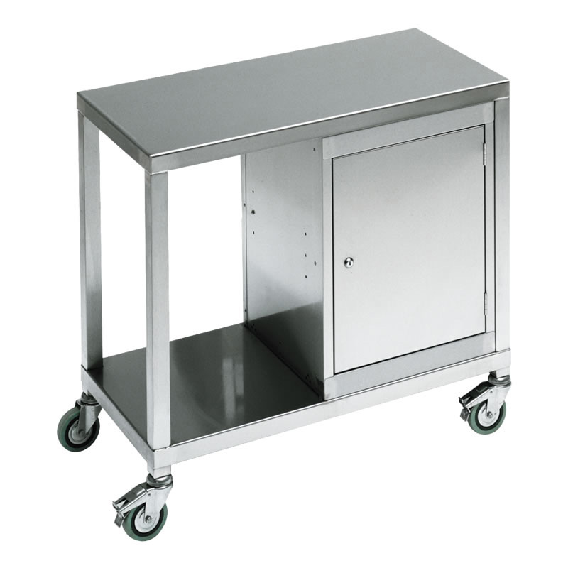 Stainless Steel 2 Tier Trolley with Cabinet 900 wide x 420 deep