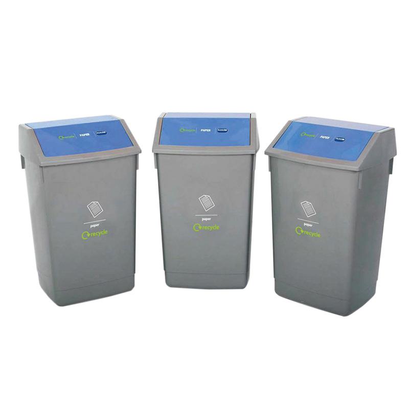 Recycling 3 Bin Kit with Flip Top Lids
