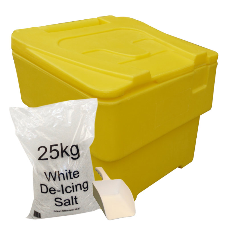 Medium Sized 60L Grit Bin With 25kg Salt & Scoop