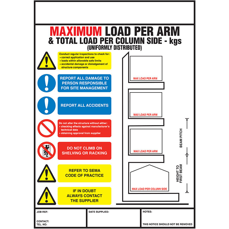 Weight Load Notice Signs For Racking Amp Shelving Ese Direct