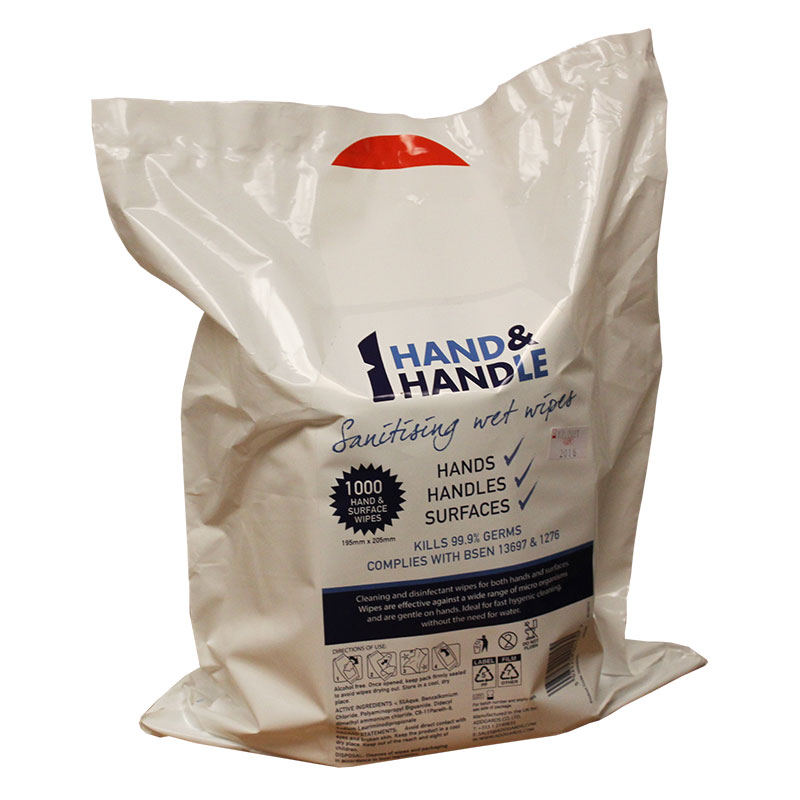 Hand & Handle Anti-Bacterial Wipes - 3 Rolls of 1000