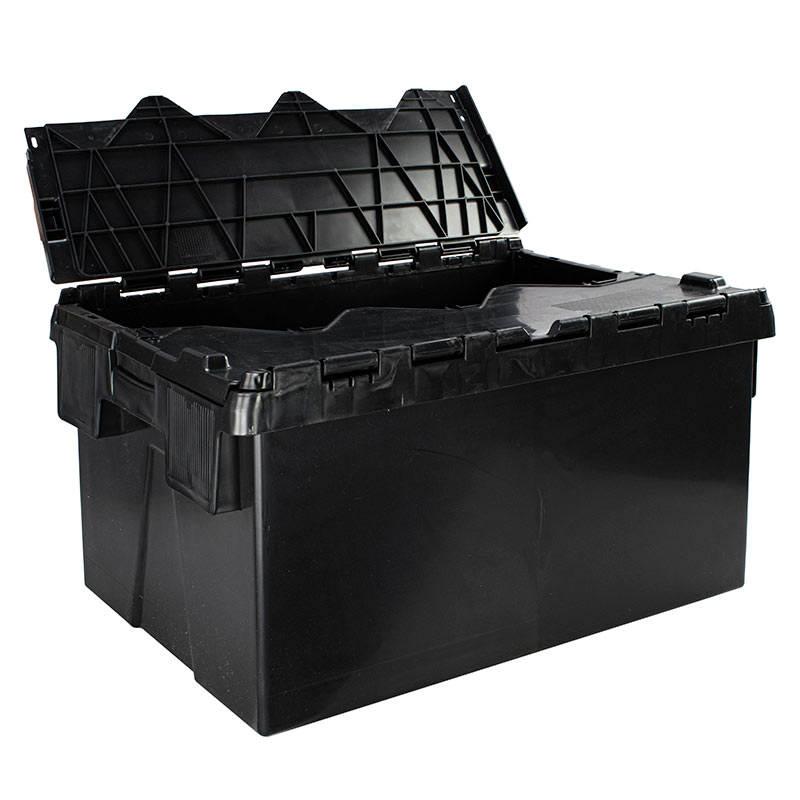Black 60L Euro Containers with Attached Lid - Pack of 2