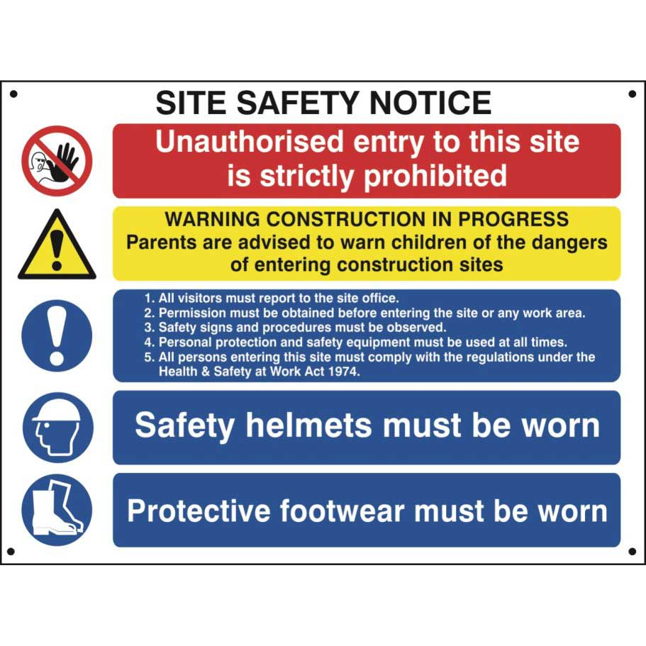 Construction Site Safety Notice With 1 Prohibition, 1 Warning & 3 Mandatory Messages