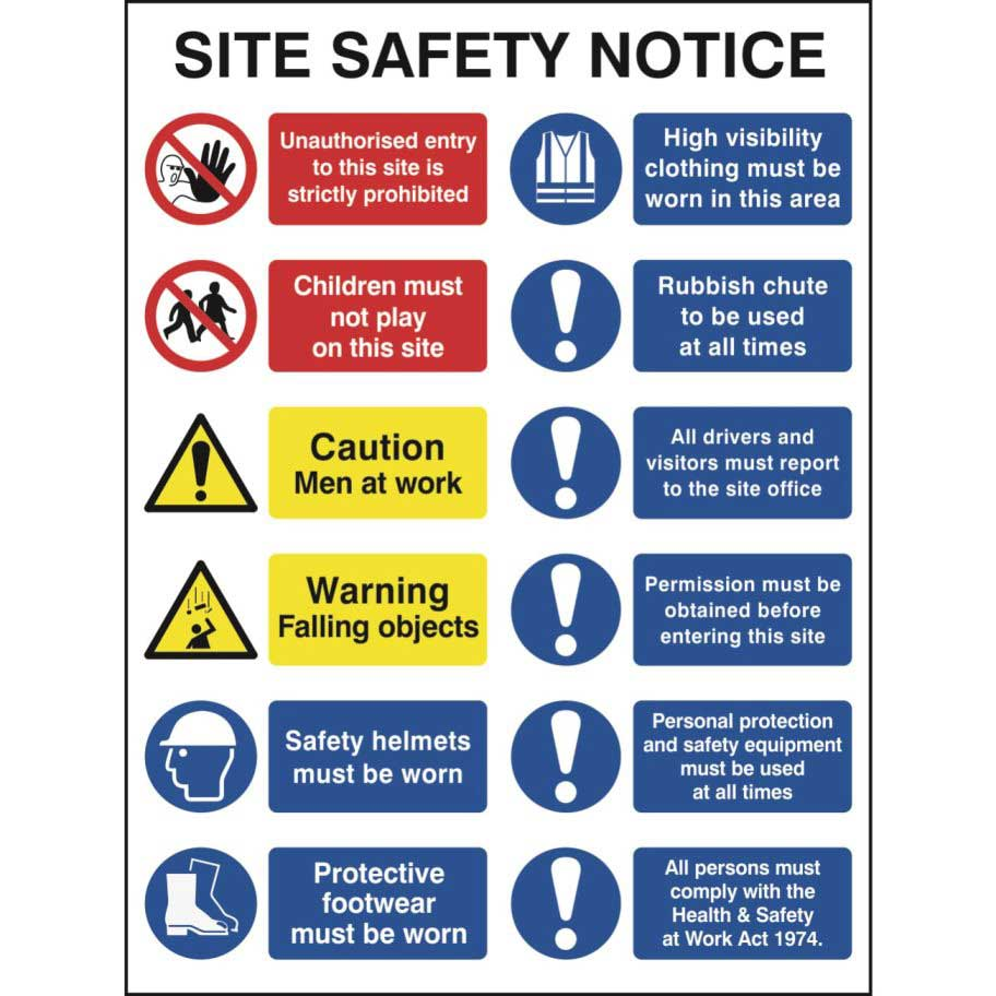 Construction Site Safety Sign With 2 Prohibition 2