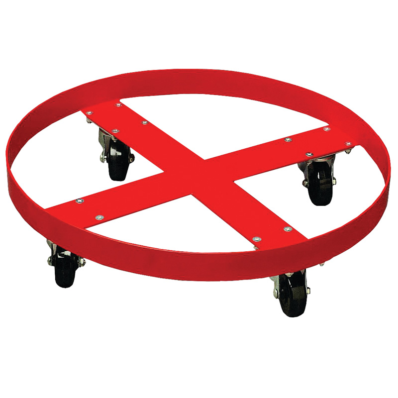 Red Painted Steel Drum Dolly