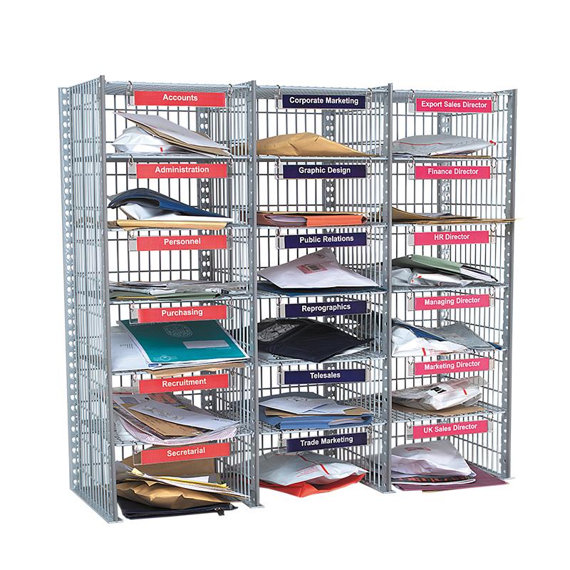 Flexibuild 18 Compartment Mail Sorting Unit in Mesh