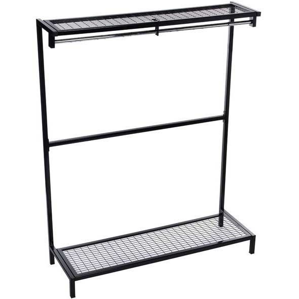 Garment Hanging Unit with Mesh Shoe Rack & Top Shelf 0.9m wide