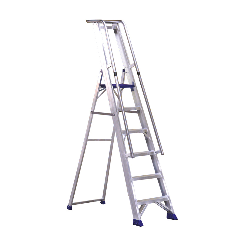 Aluminium Stepladder With Platform Guardrail And Handrail  5 Steps