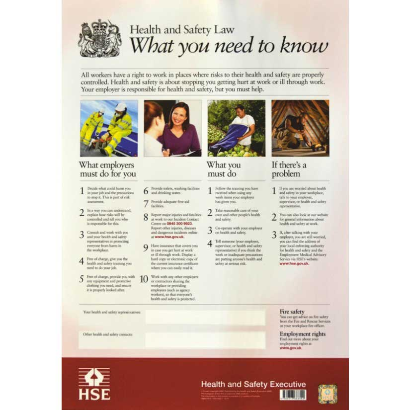 Health and Safety Law Poster  Sign Laminate (420 x 594mm)