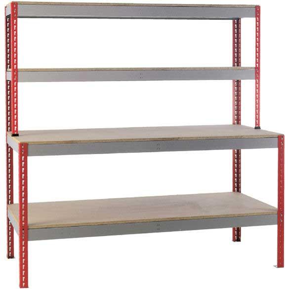 Just Workstations Chipboard Top, 2 Upper Shelves & Under shelf