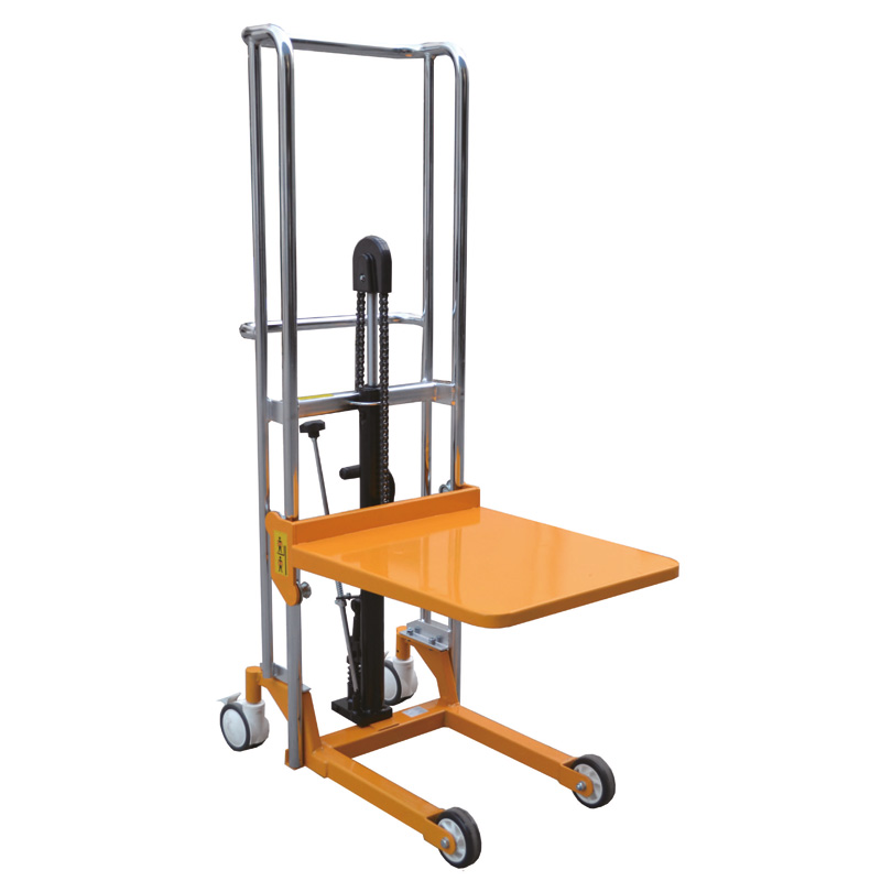 Hydraulic Mini Lifter Platform Stacker - 400Kg Cap - foot operated - 1305mm Max Platform Height  - Conforms to EN1757-1:2001