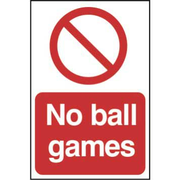 No Ball Games Sign - PYC (200 x 300mm)