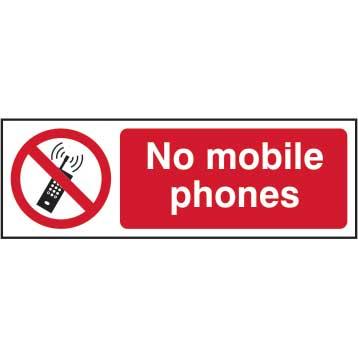 No Mobile Phones Sign  SAV (300 x 100mm)
