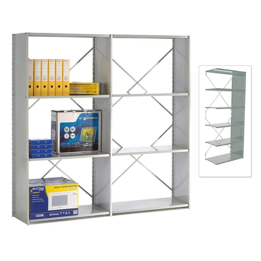 Open Back Solo Shelving Extension Bay - 1850h x 1250w x 300d 6 Shelves