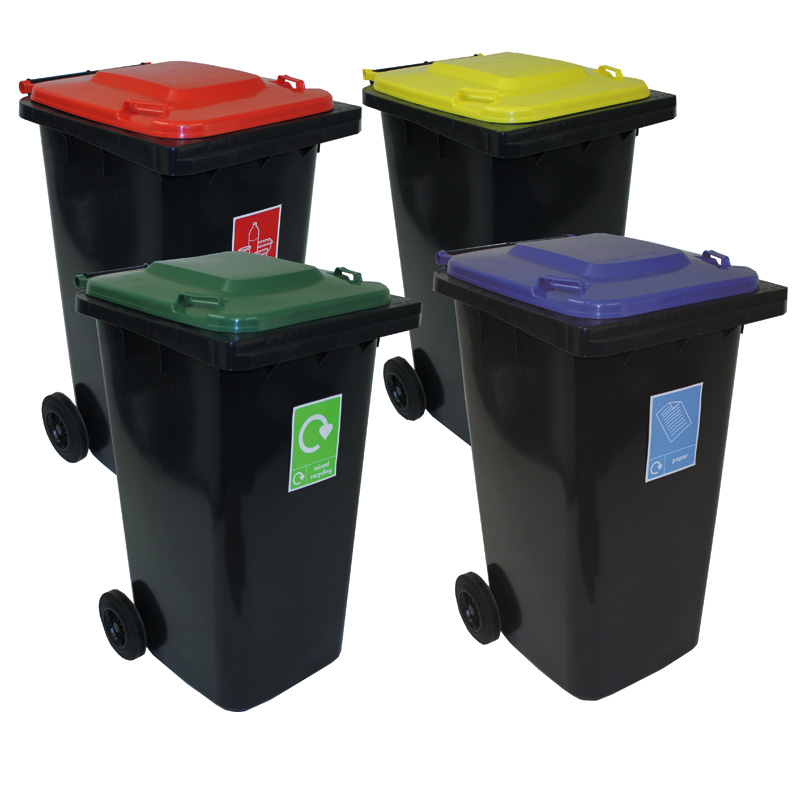 Pack of Four Recycling  Wheelie Bins 240L