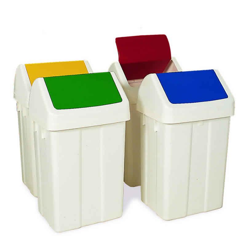 Plastic Swing Bin with White Lid - 50L capacity - Wipe clean