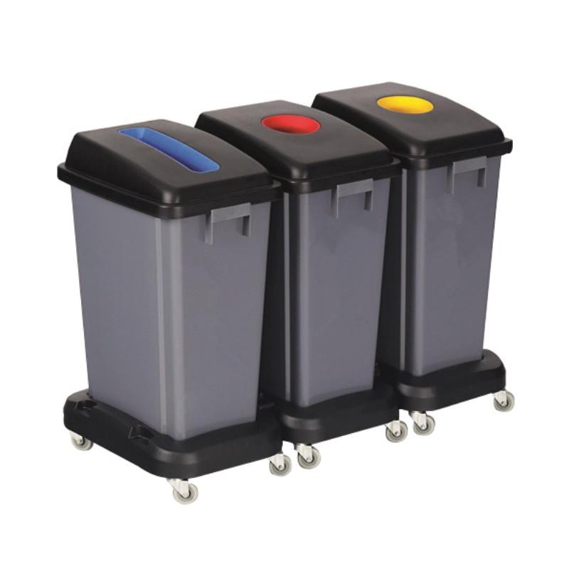 Recycling Bin Kit - 3 x 60L Recycling Bins, 3 x Dollys, 3 x Lids (1 of each colour)