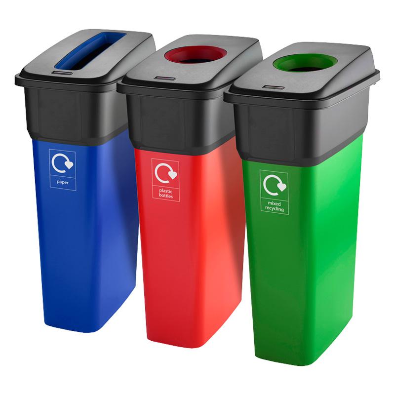 70 Litre Slim Line Plastic Recycling Bin - 290mm wide