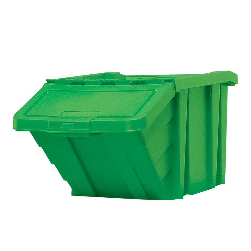 Stackable Recycling Box Bins With Hinged Lid - Red