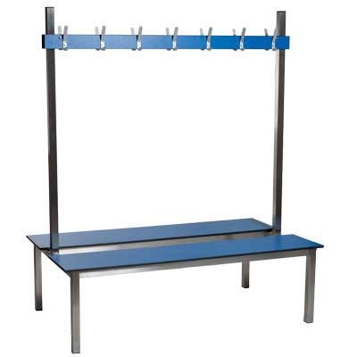 Image of 1.5m Double Sided Aqua Duo Changing Room Bench - Laminate Seat