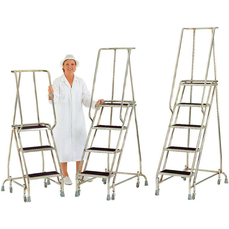 Stainless Steel Mobile Safety Steps 3 to 5 treads