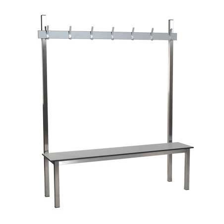 Image of 1.5m Single Sided Aqua Solo Changing Room Bench - Stainless Steel Seat
