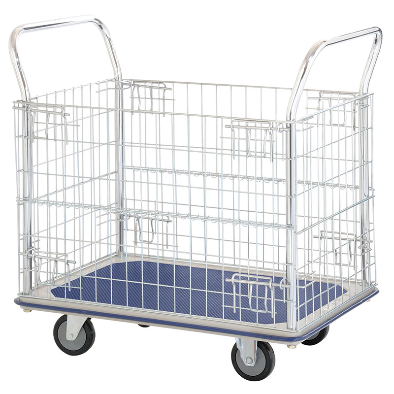 Steel platform trolley with chrome plated mesh panels
