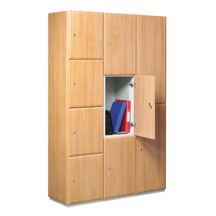 Timber effect lockers 1 to 4 doors ese direct for Wood lockers with doors