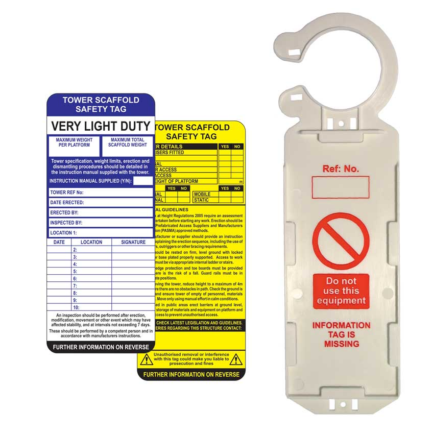 Tower Scaffold Tag Kit - Single (1 Claw Tag Holder, 2 Inserts, 1 Pen)