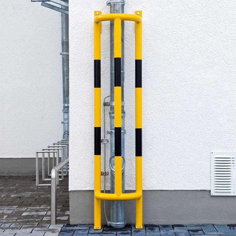 TRAFFIC-LINE Pipe Protector Wall & Floor Fixed - 1000 x 350 x 300mm (H x W x D) - Yellow/Black