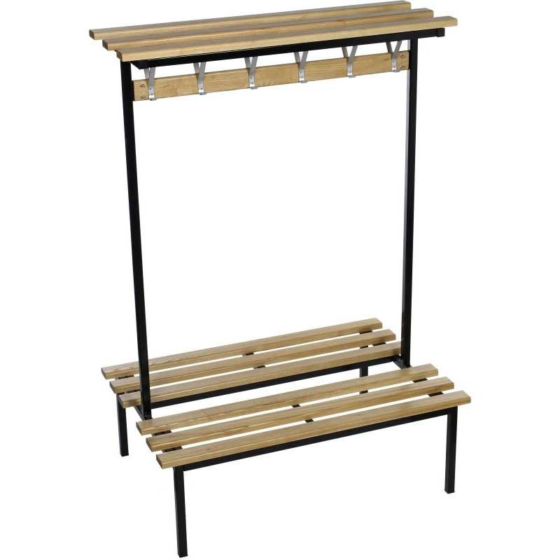 Evolve Duo Square Frame 3.0m wide Double Sided Bench - Wood top shelf