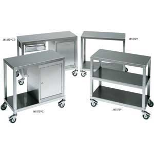 Stainless Steel 2 Tier Trolley & Cabinet