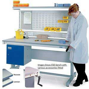 Height Adjustable ESD Workbench with Lamstat Top